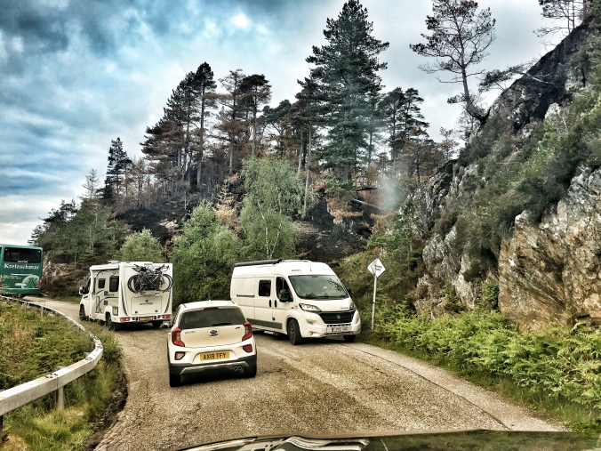 caravans passing single track road