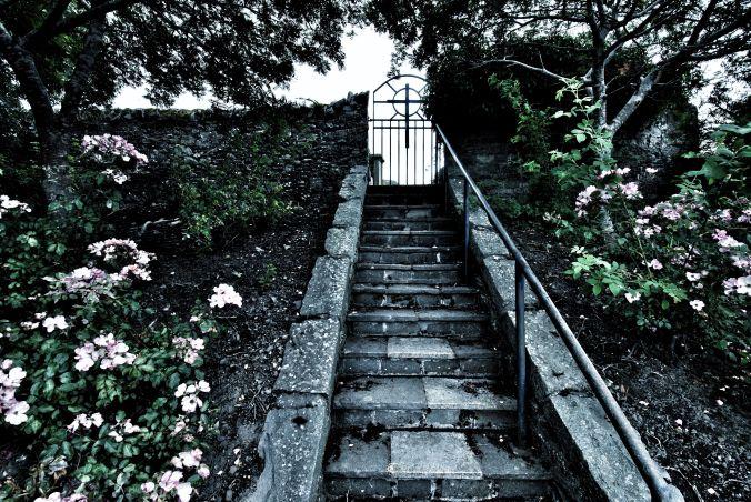 starirs to Selkirk cemetery
