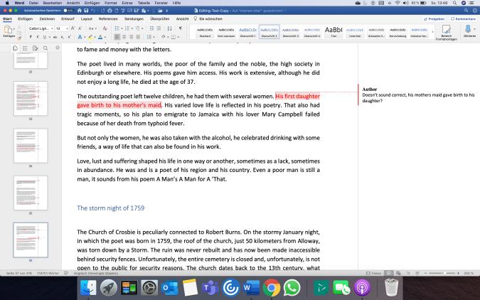 Bildschirmfoto Manuskript